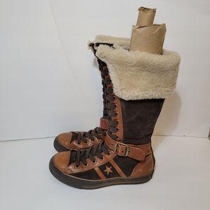 Converse Tall Leather Sherpa Suede Boots 10.5